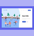 ice rink landing page template vector image vector image