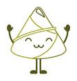 kawaii happy rice dumpling cartoon vector image
