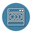 line icon of dishwashing machine with shadow eps vector image vector image