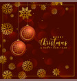 luxury christmas balls and snowflakes decoration vector image vector image