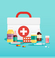 medical concept pills and bottles flat design vector image vector image