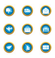 message labor icons set flat style vector image vector image