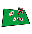 poker table cards royal flush combination vector image