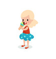pretty blonde girl licking ice cream cartoon vector image vector image