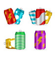 realistic 3d detailed shiny colorful cans set vector image