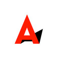 red letter a with black shadow like arrow up logo vector image