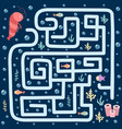 sea maze game for kids help shrimp find the vector image