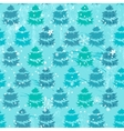 Seamless blue pattern with fir trees vector image vector image