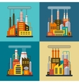 set flat industrial building factory and plant vector image