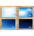 set of blue flares on wooden background vector image vector image