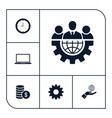 set of business icons simple marketing elements vector image vector image