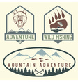 set of vintage adventure labels with bearsalmon vector image vector image