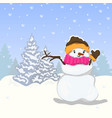 snowman winter christmas tree vector image vector image