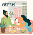 stay at home young man and woman are sitting are vector image