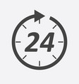 time icon flat 24 hours on white background vector image
