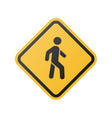 yellow pedestrian crosswalk sign vector image vector image