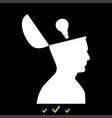 man with lightbulb idea in open head icon vector image