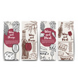 wine cheese olives meat banners wine and meat vector image