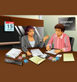 accountant helping a man filling the tax vector image