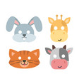 animals carnival mask set festival vector image vector image