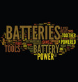 battery sizes and types text background word vector image vector image