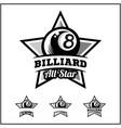 billiard 8 ball all star badge logo vector image
