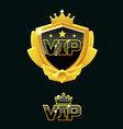 black shield with vip logo vector image