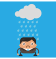 Cloud Raining on Business Man vector image
