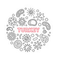 coronavirus disease in turkey round line vector image
