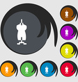 Dress Icon sign Symbols on eight colored buttons vector image vector image