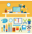 education and equipment banner flat design vector image vector image