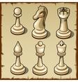 Elegant chess set in light color six figures vector image