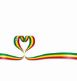 ethiopian flag heart-shaped ribbon vector image vector image