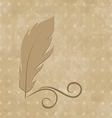 Feather calligraphic pen on vintage background vector image