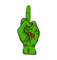 finger green zombie hand design isolated on vector image