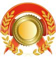 gold medal and laurel wreath vector image