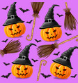 halloween background with pumpkins witches and vector image vector image