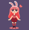 Happy Bunny Girl Next to a Floating Heart vector image vector image
