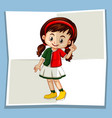 happy girl on white paper vector image vector image