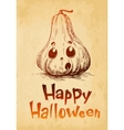 Happy Halloween pumpkin Jack O Lantern drawn in a