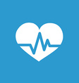 heart pulse icon white on the blue background vector image vector image