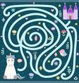 help cute unicorn find way to magic vector image