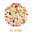 ice cream round frame composition vector image vector image
