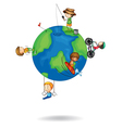kids playing on earth globe vector image vector image