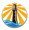 lighthouse and sea waves vector image vector image