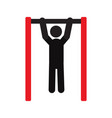 man doing pull ups silhouette icon vector image vector image