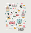 map berlin with famous symbols vector image vector image