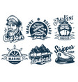marine print set with cruises skipper and helm vector image vector image