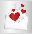 Opened envelope with hearts flying out vector image vector image