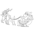 outlined santa sleigh vector image vector image